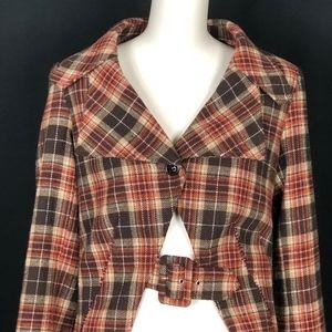Anthropologie Cropped Wool Plaid Jacket